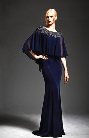 Park108 M167 Stretch Faille Gown W/Beaded Cape