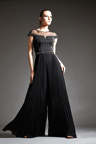 Park108 M185 Wide Leg Pleated Chiffon Evening Jump Suit