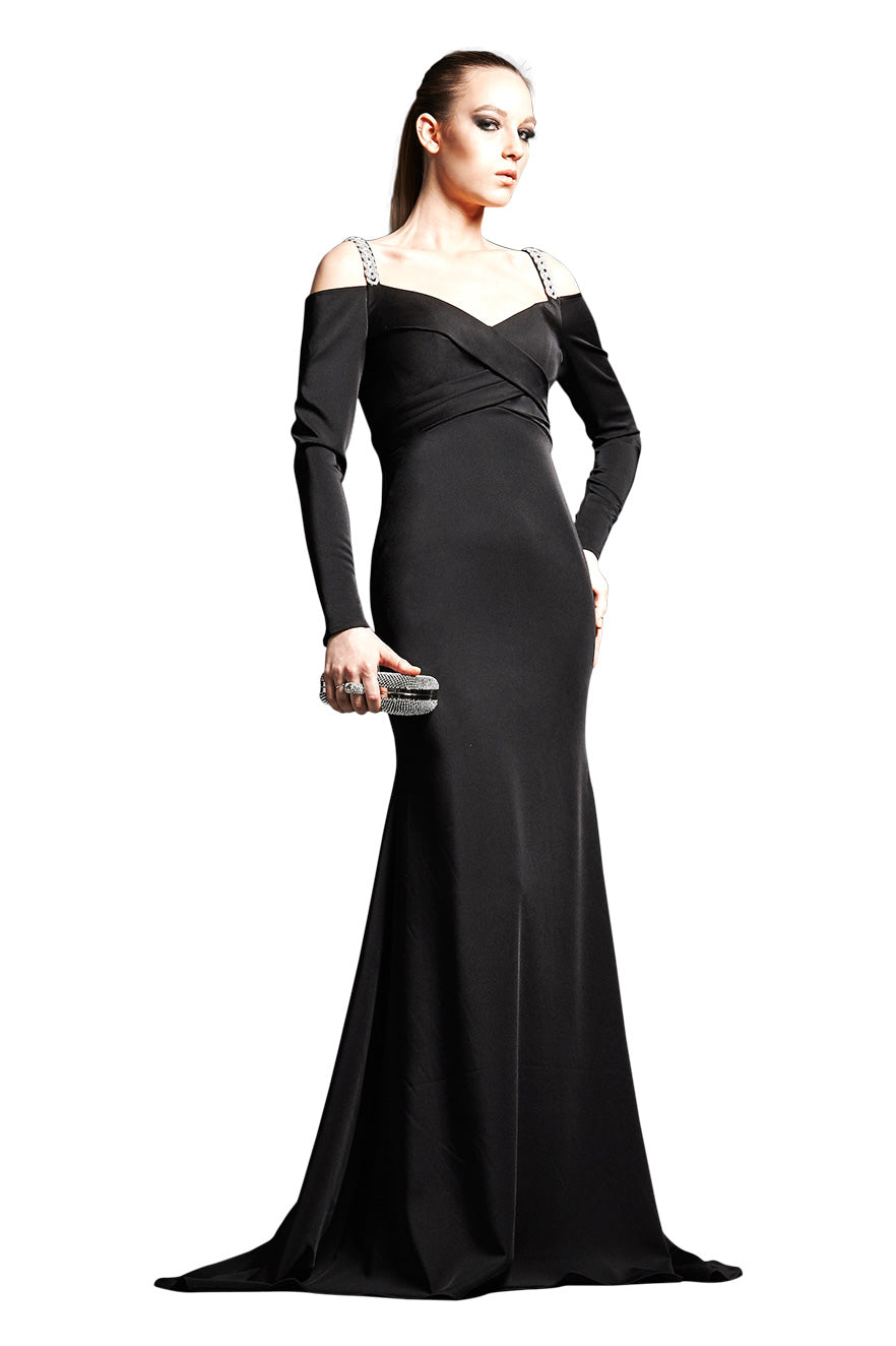Park108 M192 Off Shoulder Stretch Faille Gown