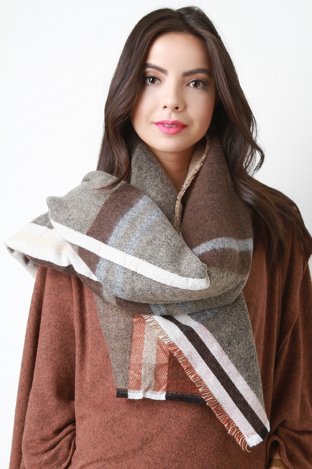Large Print Woven Plaid Scarf