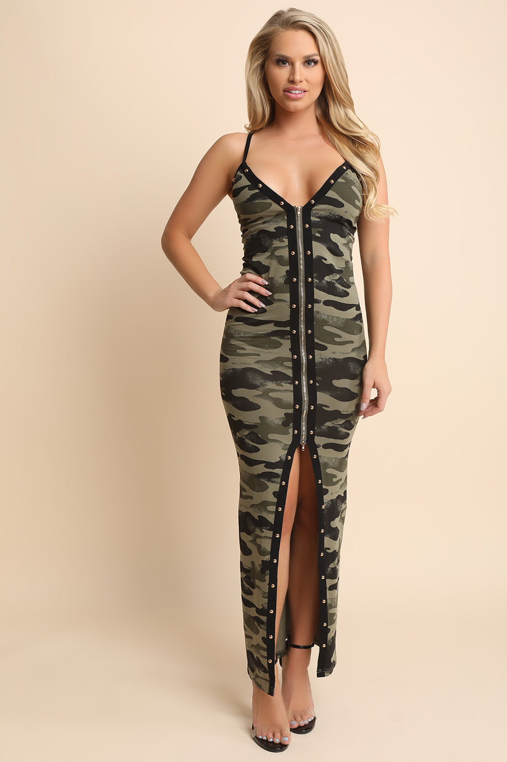 Camouflage Studded Trim Vent Slit Maxi Dress