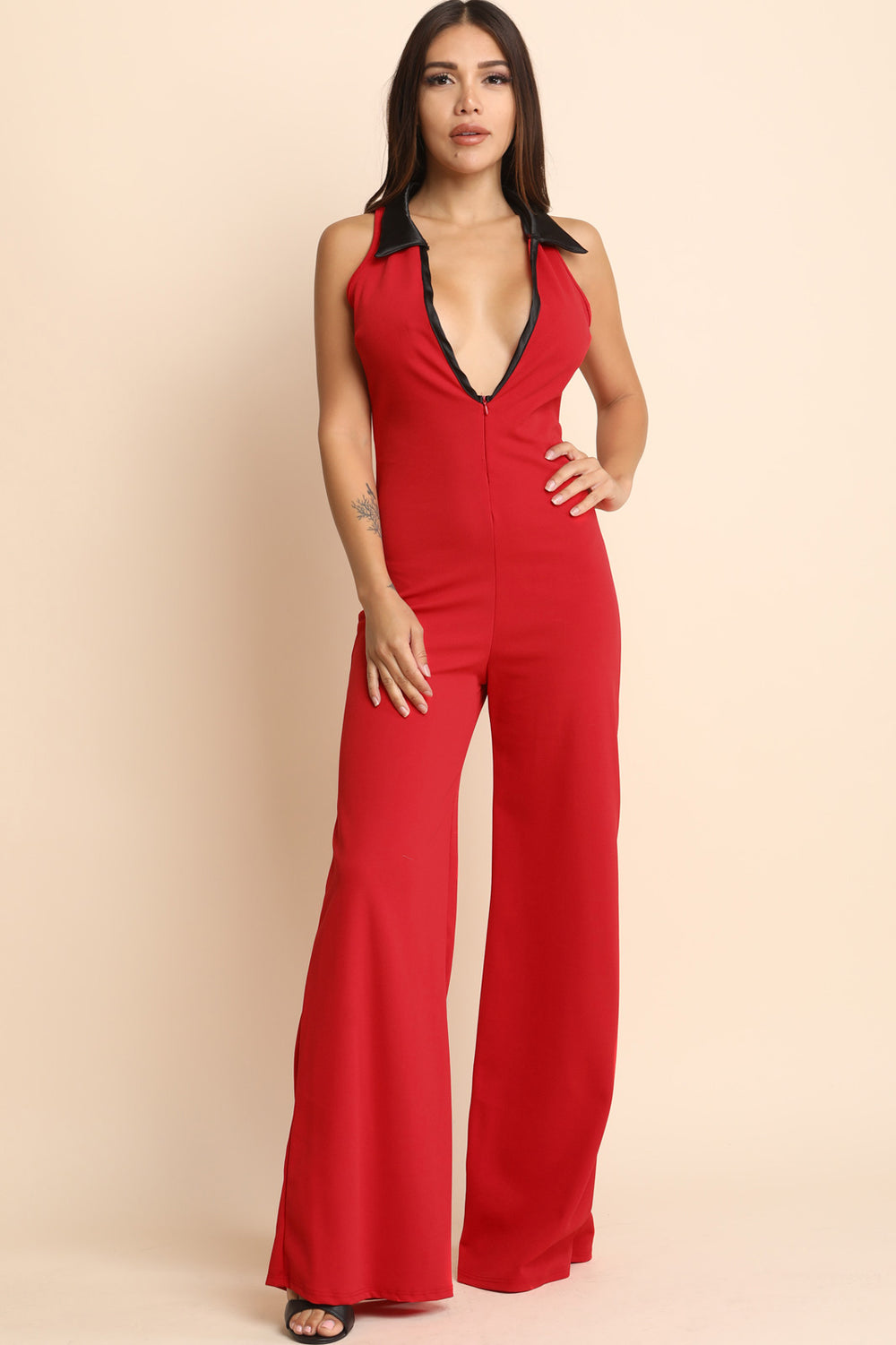 Plunging Neck Sleeveless Wide Leg Jumpsuit