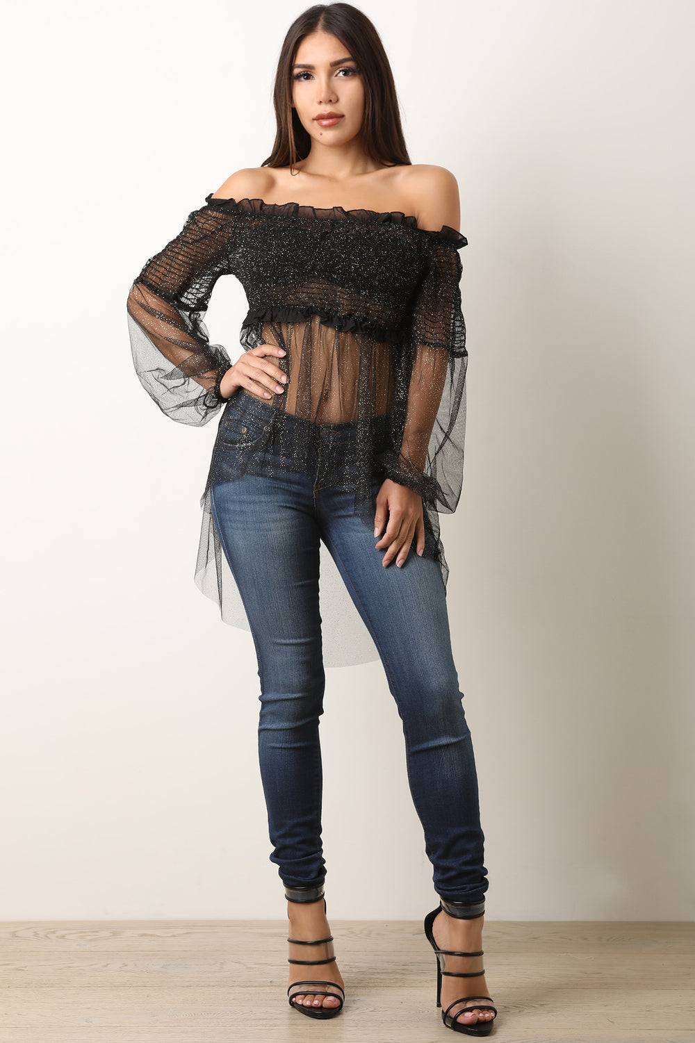 Glitter Mesh Off-The-Shoulder Smocked High Low Blouse Top