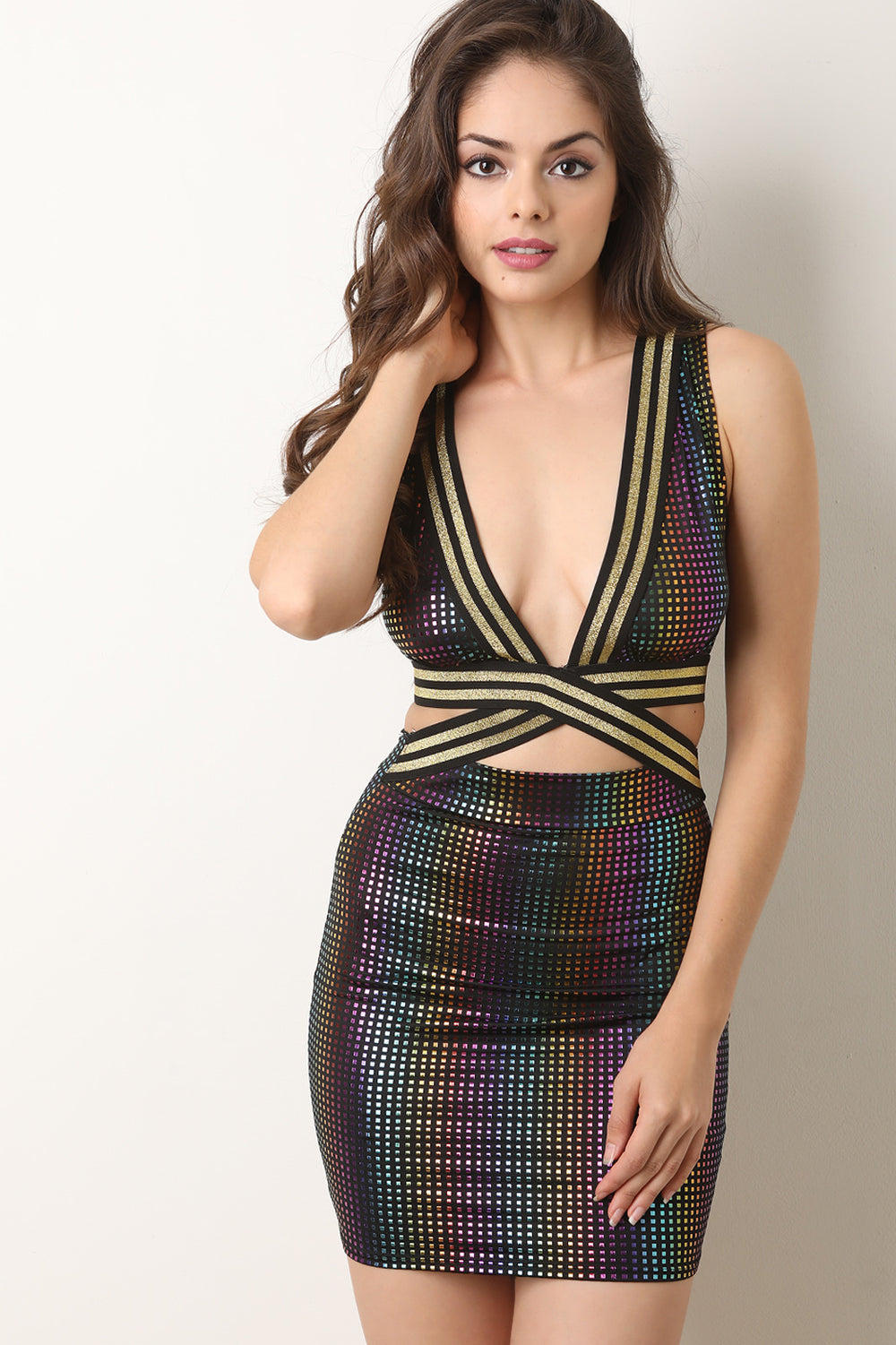 Metallic Dotted Deep V Open Midriff Mini Dress