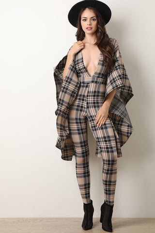 Plaid Print Oversized Bell Statement Sleeves Jumpsuit