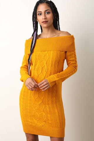 Cable Knit Off The Shoulder Sweater Dress