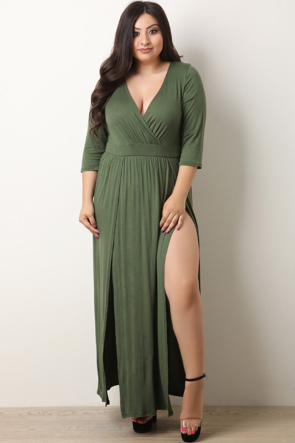 Surplice Double Slit Maxi Dress