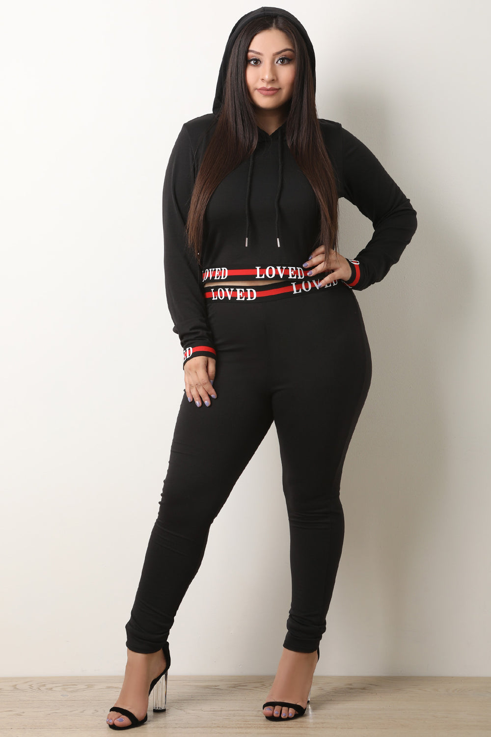 Loved Trim Hooded Crop Top With Legging Set