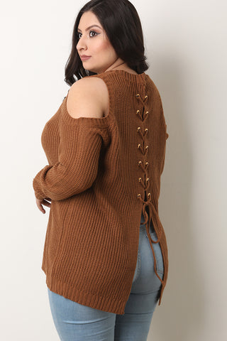 Back Lace-Up Long Sleeves Cold Shoulder Sweater