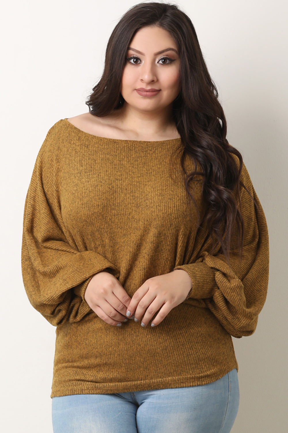 Soft Ribbed Knit Dolman Sleeve Boat Neck Top