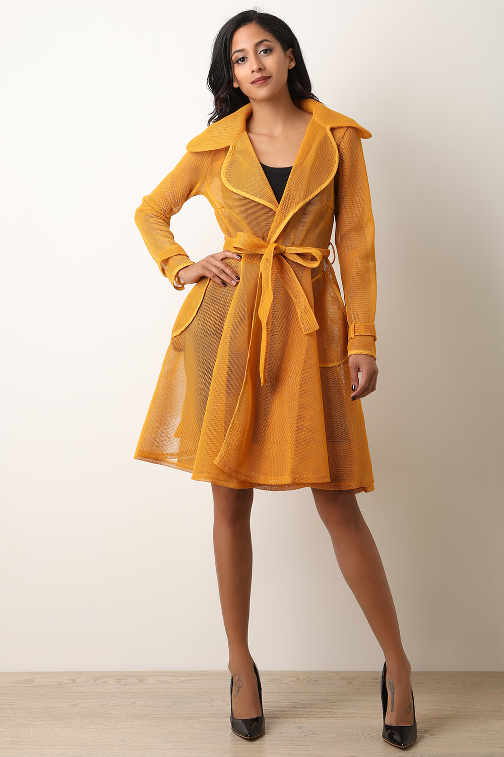 Netted Mesh Waist Sash Trench Coat