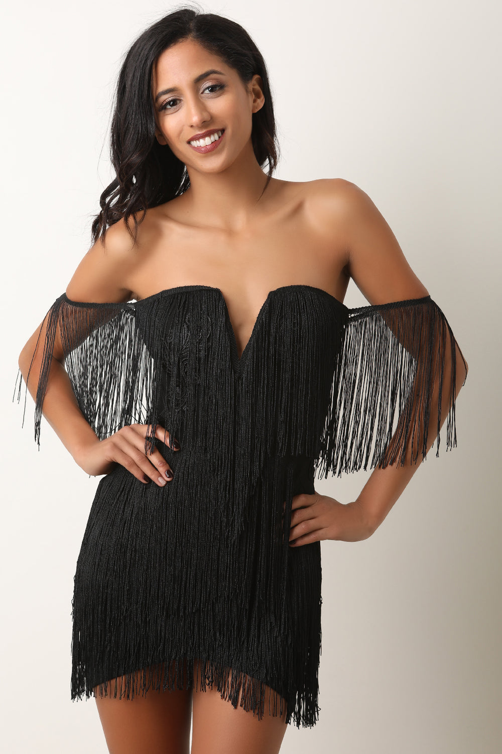 Off The Shoulder V Bone Fringe Mini Dress