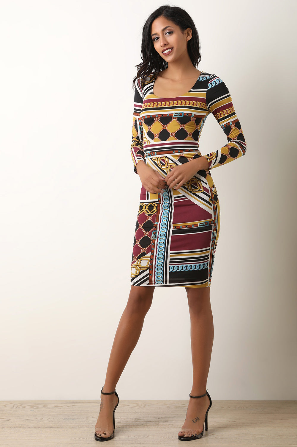 Rope And Chains Print Long Sleeve Bodycon Dress