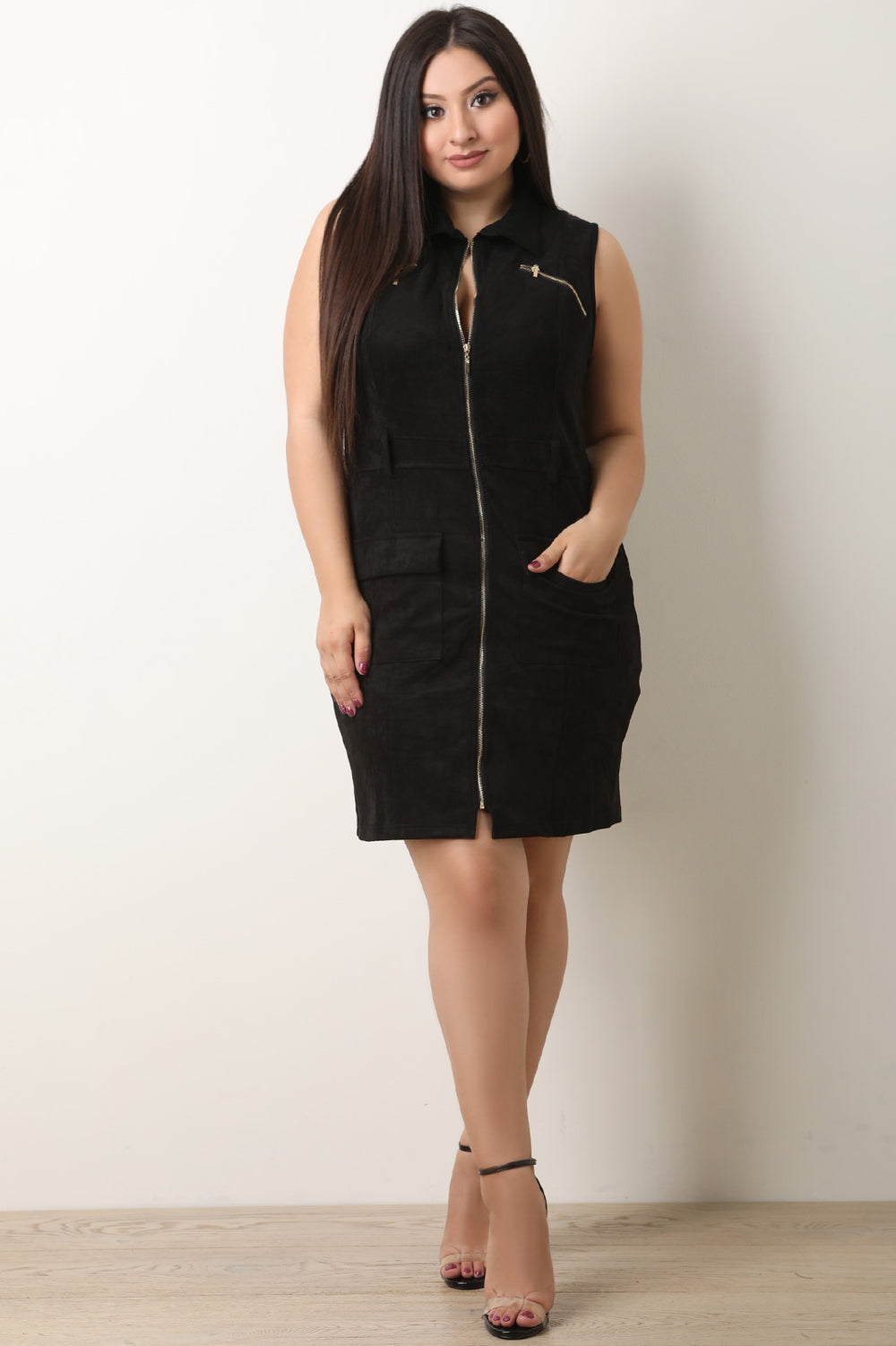 Vegan Suede Front Zip-Up Sleeveless Cargo Dress