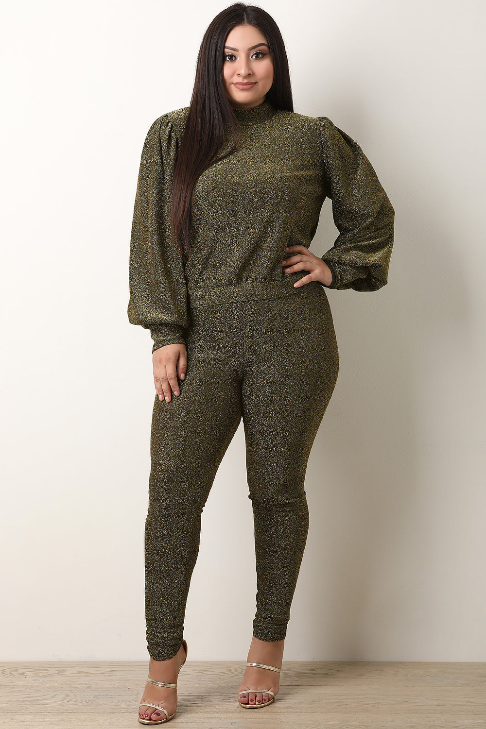 Metallic Knit Bishop Sleeves Top with Leggings Set