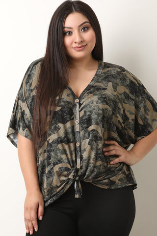 Front Tie Camouflage Button-Up Top