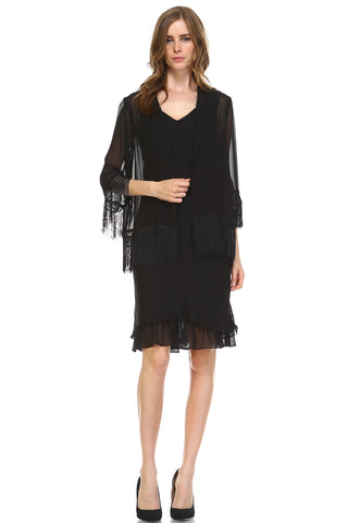 Women's Chiffon Dress with Sheer Fringe Chiffon Cardigan