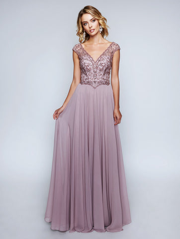 Nina Canacci 1465 V-Neckline Long Dress