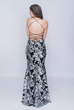 Nina Canacci 1436 Full Open Crisscross Back-Beaded Long Dress