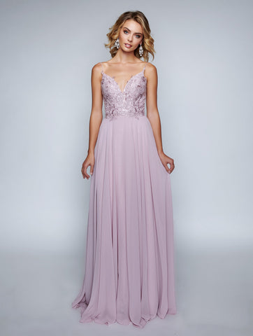 Nina Canacci 3153 Stylish Open Back-Beaded Long Dress