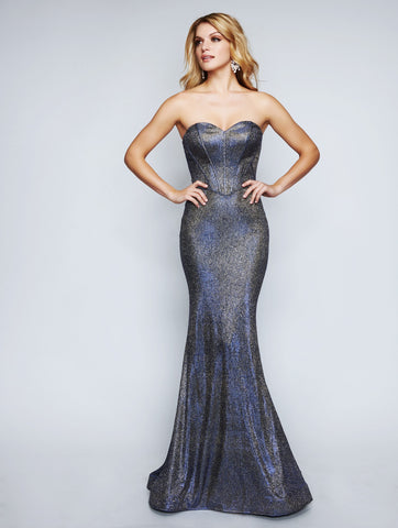 Nina Canacci 1453 Strapless Fitted Floor-Touch Long Dress