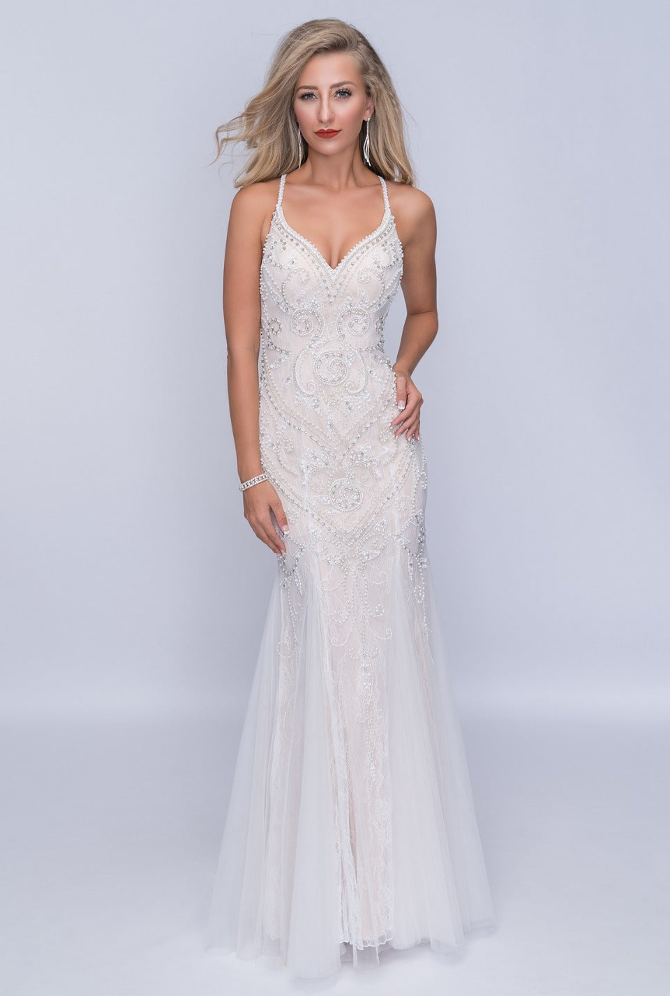 Nina Canacci 4181 Full Open Back- Beaded Long Dress
