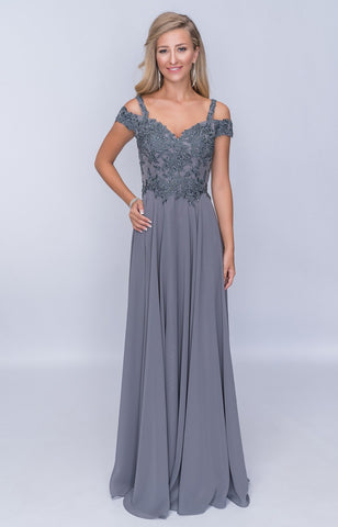 Nina Canacci M507 Off-The-Shoulder Formal Long Dress