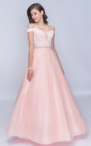 Nina Canacci 3149 Off-Shoulder Long Sweetheart Ball Gown