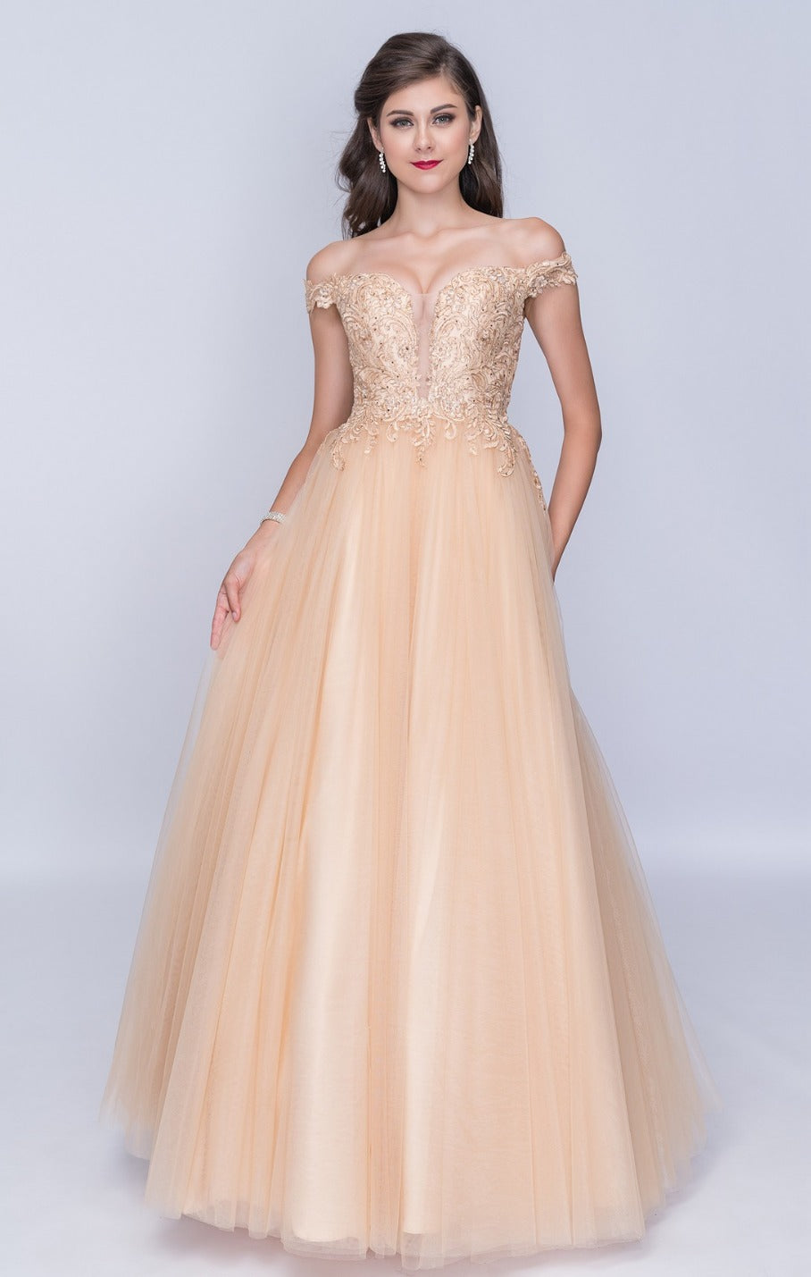 Nina Canacci 6027 Off-Shoulder Long Ball Gown