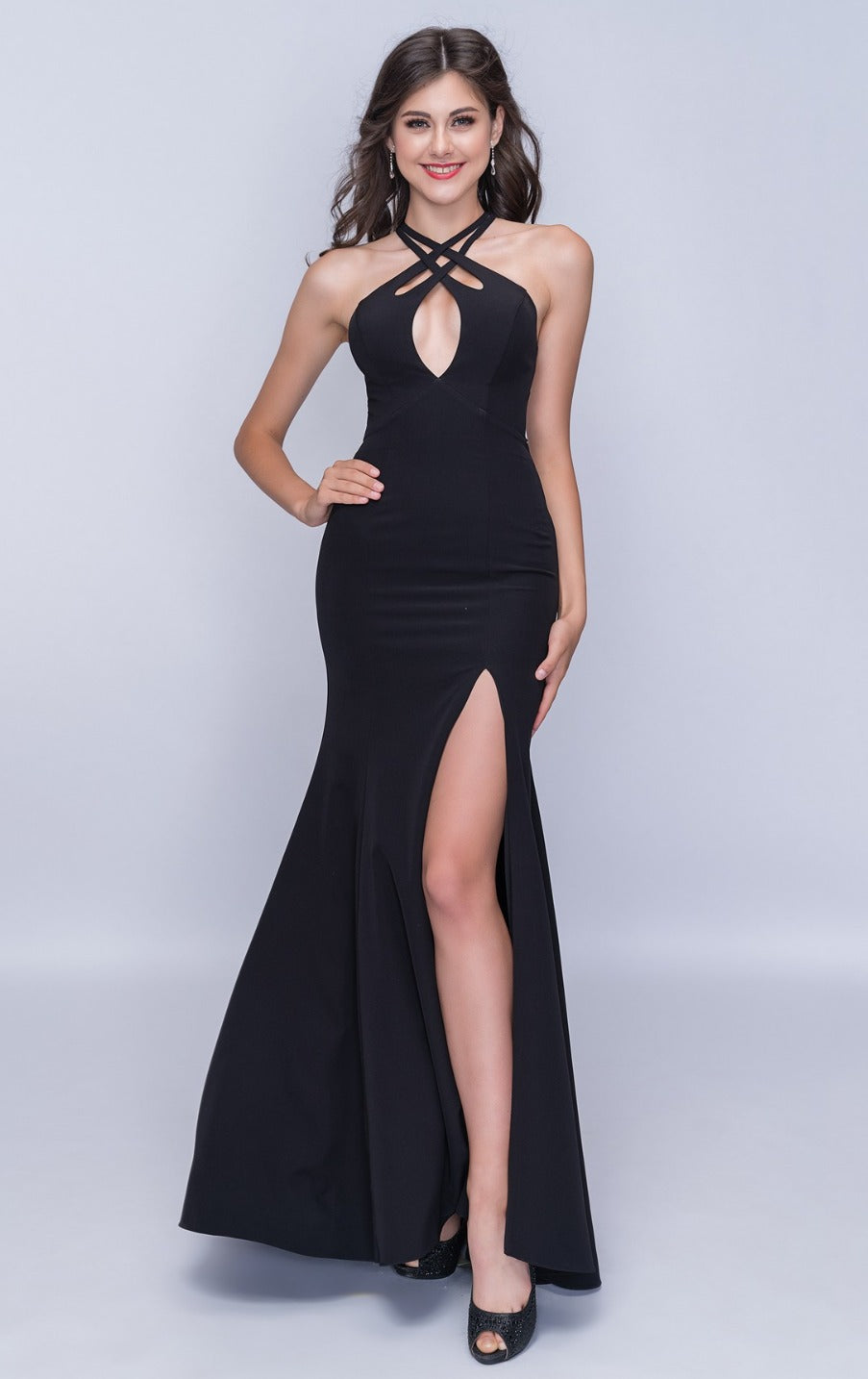 Nina Canacci 6024 Sexy Cut-Out High Slit Long Dress