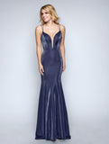 Nina Canacci 6500 Stylish Fitted Deep Neckline Long Dress