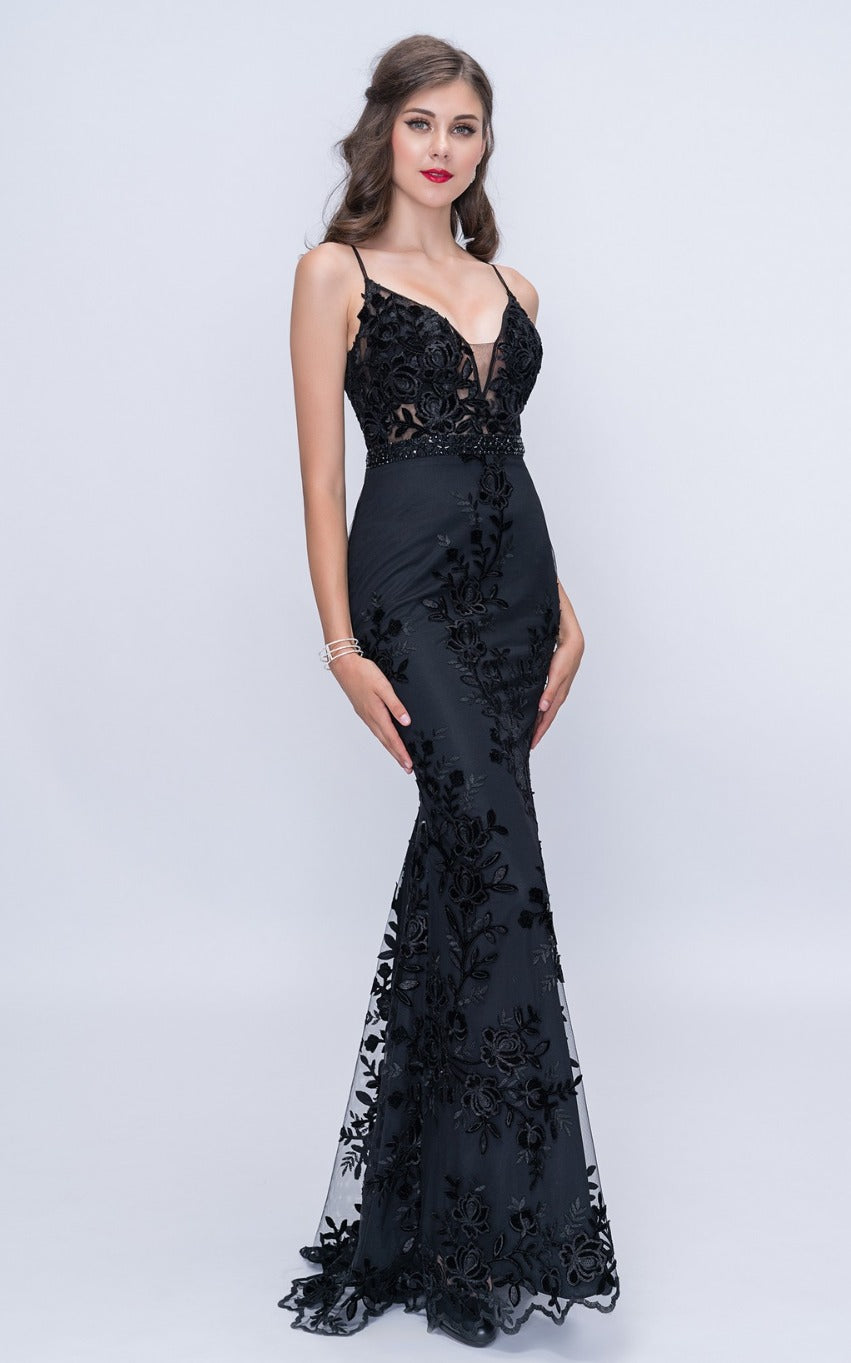 Nina Canacci 2207 Black Fitted Long Evening Dress