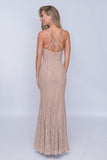 Nina Canacci 4186 Backsided Crisscross Fitted Long Dress