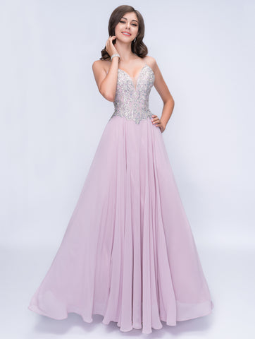 Nina Canacci 3151 Deep Neckline Open Back-Sided Long Dress