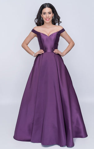 Nina Canacci 1418 Off-Shoulder Long Ball Gown