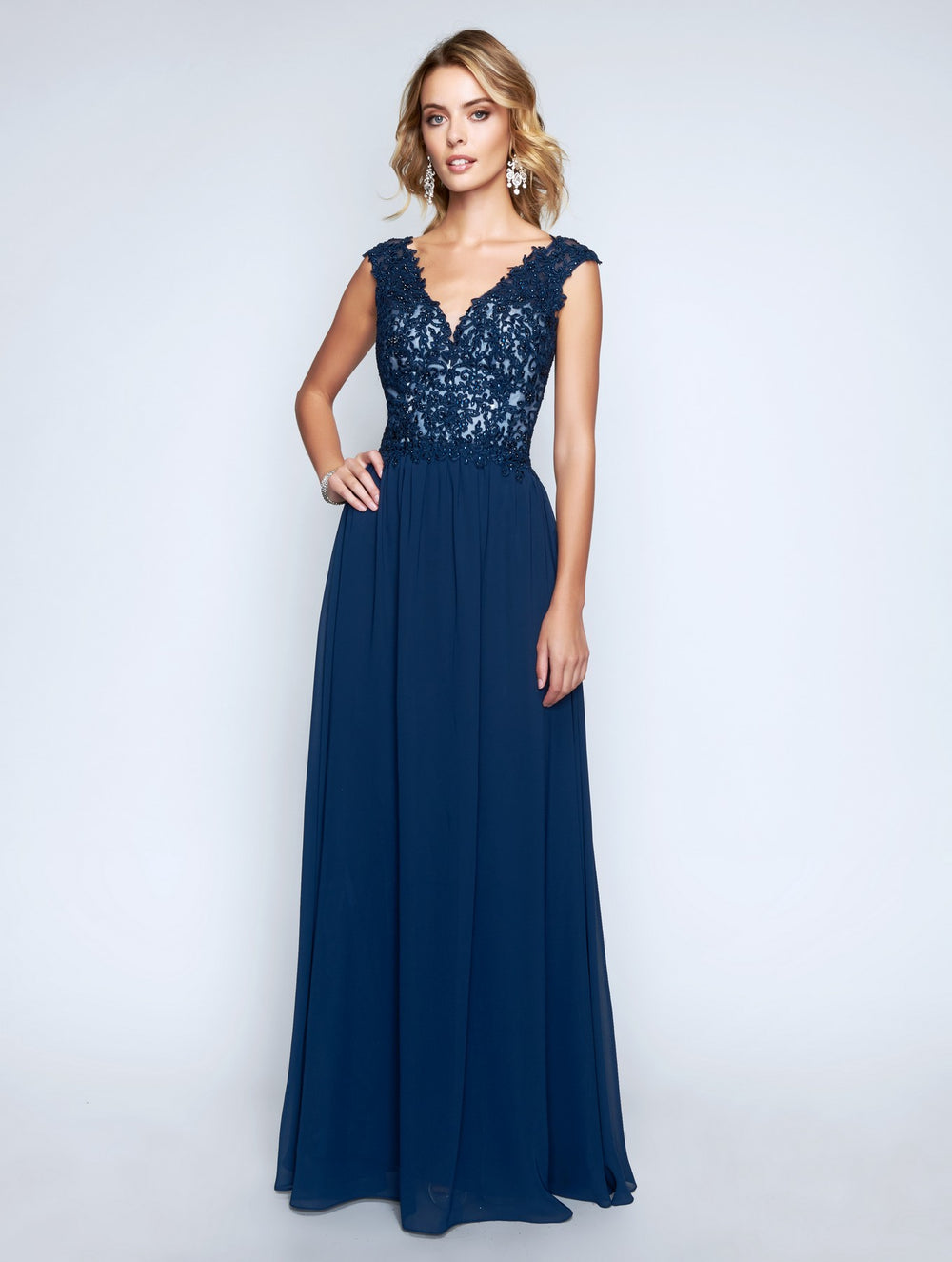 Nina Canacci 1449 V-Neckline Stylish Long Dress