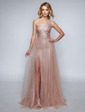 Nina Cannaci 8165 One-Sided  Strap Long Gown