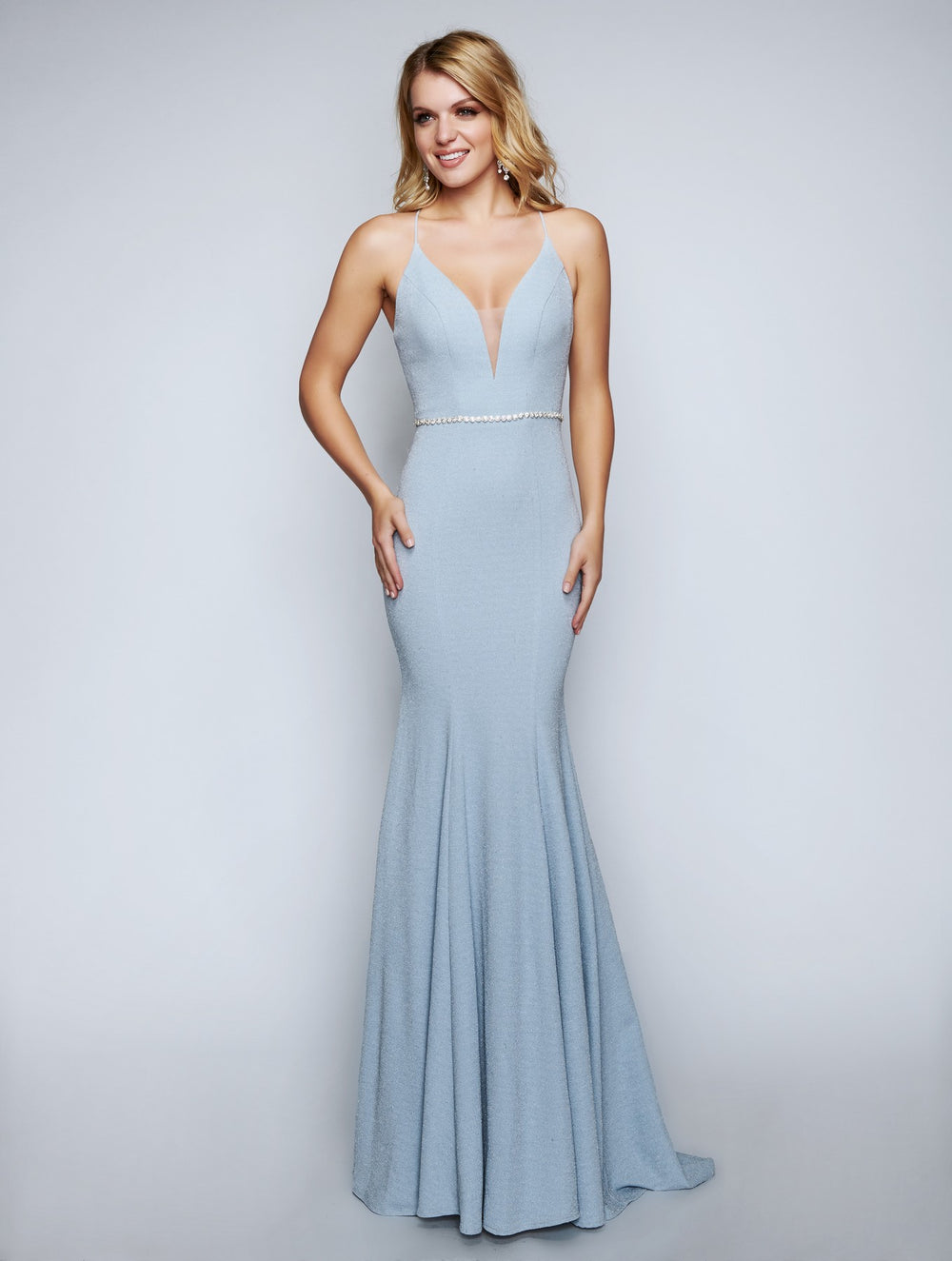 Nina Canacci 6516 Deep Neckline Fitted Floor-Touch Dress