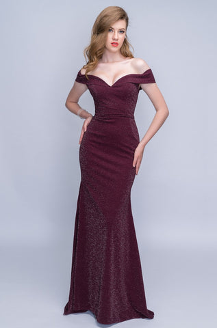 Nina Canacci 6503 Folded Neckline Long Fitted Long Dress