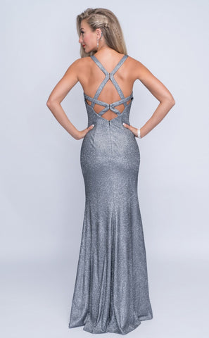 Nina Canacci 1423 Open Back-Beaded Cut-Out Long Dress