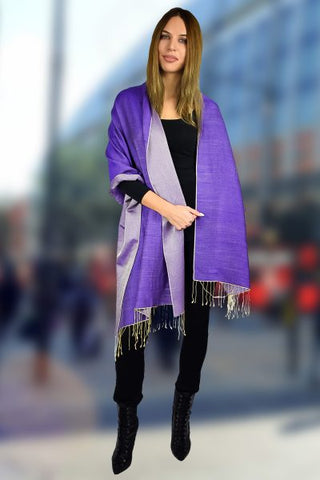 Two Tone Reversible Pashmina Wrap in Blue and Purple