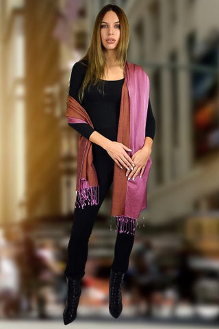 Two Tone Reversible Pashmina Wrap in Lavender and Brown