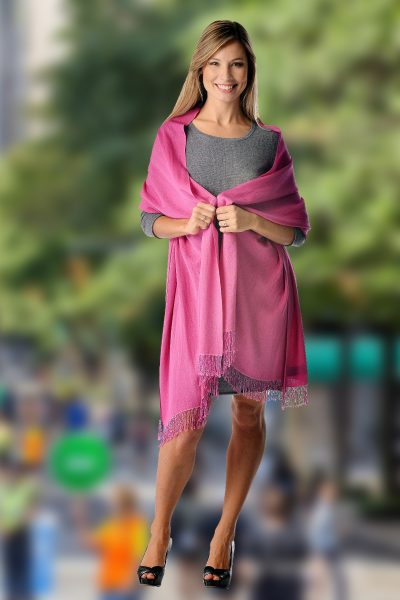 Pashmina Shawl With Beaded Tassels – Magenta Pink