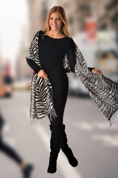 Pashmina Wrap in Animal Prints – Zebra