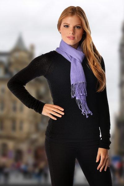 Pure Cashmere Scarf with Tassels