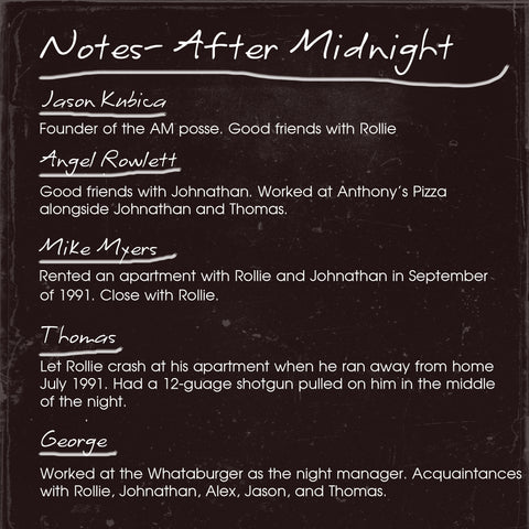 Dectective Notes for After Midnight