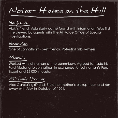 House on the Hill Detective Notes