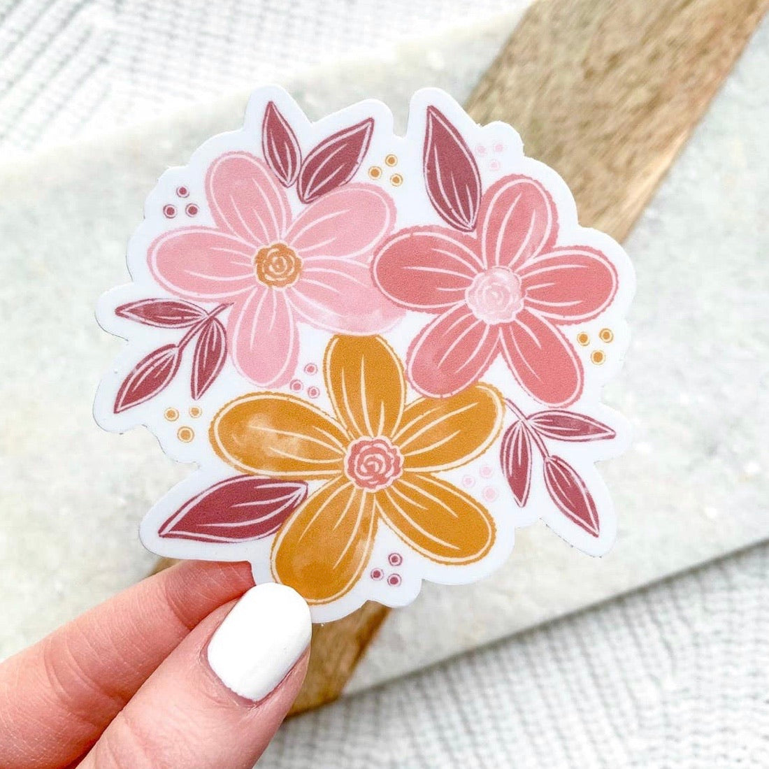Pink & Yellow Flowers Sticker