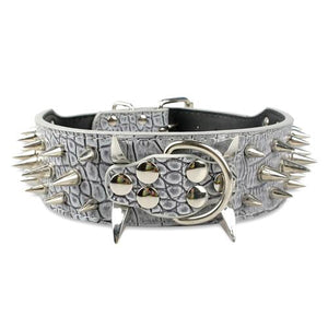 Sharp Spiked Studded Leather Dog Collar