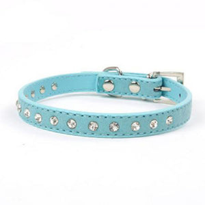 Rhinestone Leather Necklace Dog Collar